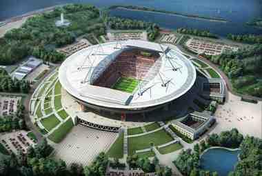 Макет стадиона в Санкт-Петербурге.